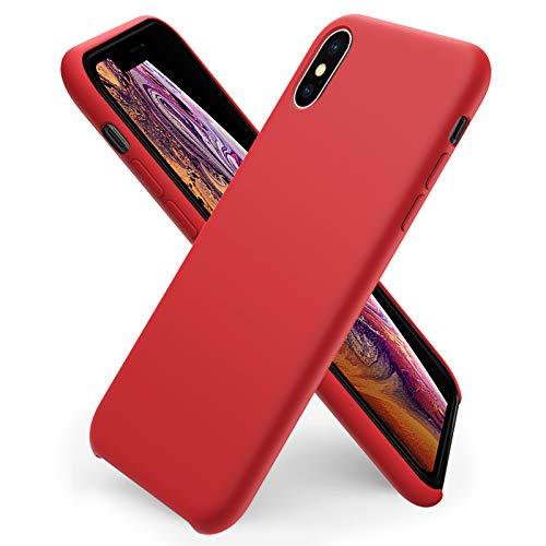 ORNARTO Coque iPhone XS en Silicone, iPhone X Case Fine en Caoutchouc Liquid Silicone Cover Protection Bumper Anti-Choc Housse Étui pour iPhone XS/X (2018) 5,8 Pouces-Rouge
