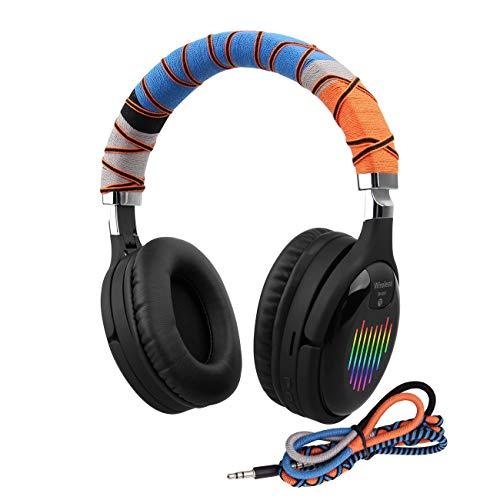 Auriculares Bluetooth Over Ear micrófono Incorporado y Controlador Dual de 40 mm Auriculares inalámbricos con Banda para la Cabeza, Sonido de Alta fidelidad, Diadema Trenzada Hecha a Mano