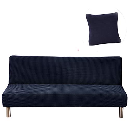 Funda para sofá cama sin brazos, de punto, elástica, plegable, sin reposabrazos, funda protectora para sofá o futón, con 1 funda de almohada (azul oscuro)