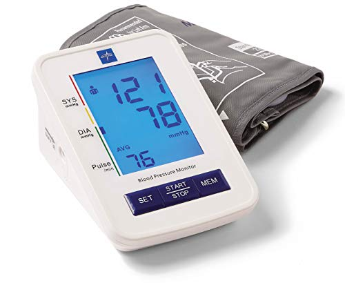 Medline MDS4001 Automatic Digital Blood Pressure Monitor with Standard Adult Cuff for Upper Arm, with Large LED Display, Batteries Included, Great for Home Use, Professional Medical Use