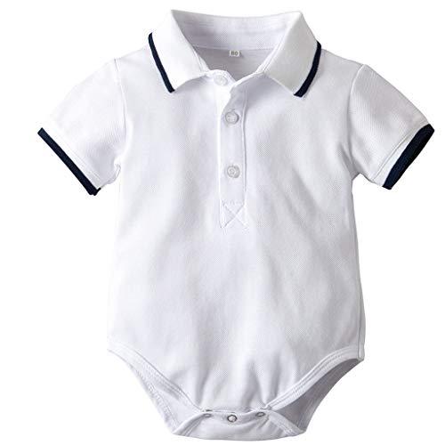 Bebe Niño Polo Body Pelele Manga Corta Mono Mameluco Ropa Verano de la Traje Algodón del Camisa Caballero Pijama Blanco 9-12 Meses