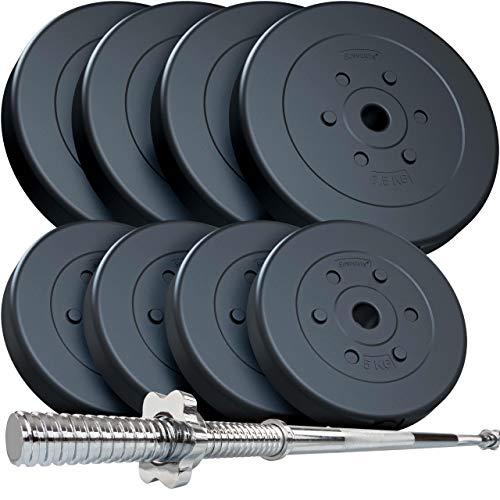 ScSPORTS® 69 kg Hantelset mit Langhantel, mit Gewinde und 8 Hantelscheiben aus Kunststoff - bodenschonendes & geräuscharmes Training