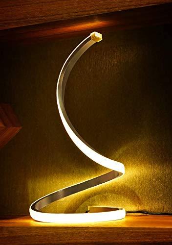 Spiral LED Tischlampe, Moderne Nachttischlampe Aus Aluminium,12W Dimmbare Schreibtischlampe Mit Touch-Schalter Für Schlafzimmer, Wohnzimmer Und Büro, Höhe 13Zoll-2M Kabel (Silber)