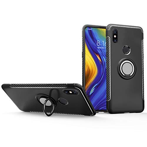 Xiaomi Mi Mix 3 5G Hülle,Kratzfest/stoßfest Harte PC+Silikon TPU Schutzhülle mit um 360 Grad drehbarem Metall Ring Stand [Magnetische Autohalterung unterstützen] für Xiaomi Mi Mix 3 5G-Schwarz