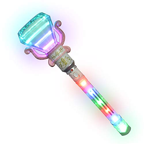 ArtCreativity Multi-Color Spinning Diamond Wand with LED Handle, 13.5 Inch Light Up Princess Wand for Kids, Fun Pretend Play Prop, Batteries Included, Birthday Gift for Boys & Girls- Colors May Vary