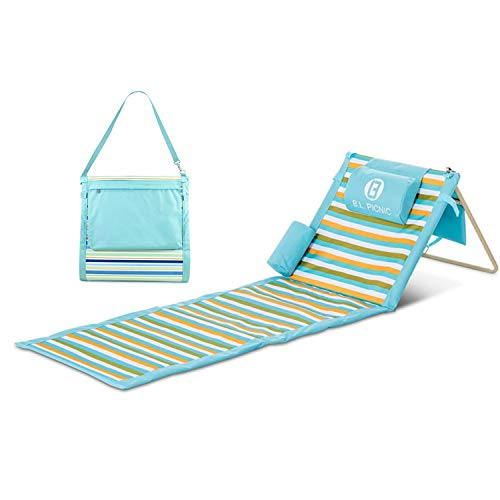 Portable Beach Mat, for The sunbather with Pillow and Removed Bag -Blanket Gift idea (Blue Stripes)