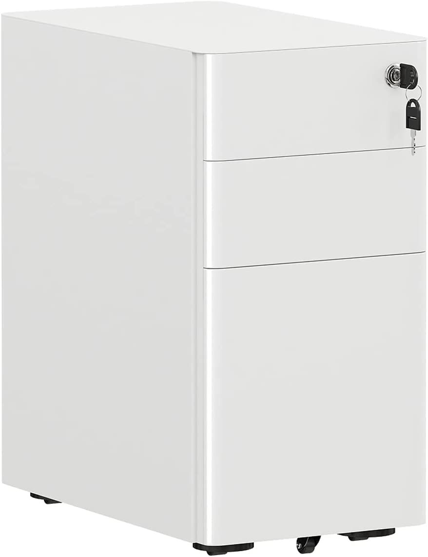 AMISEN 3-Drawer Mobile File Cabinet Office Drawers with Lock, Slim Portable Filing Cabinet for Legal/Letter/A4 File, Fully Assembled Including Casters, White