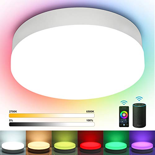 Alexa Smart LED Deckenleuchte Dimmbar, Oraymin 12W 1200LM Bluetooth Deckenlampe RGB IP54 Wasserfest Smart Lampe für Kinderzimmer, Kompatibel Alexa Google Assistant,Wifi APP-Steuerung, Ø22,5cm