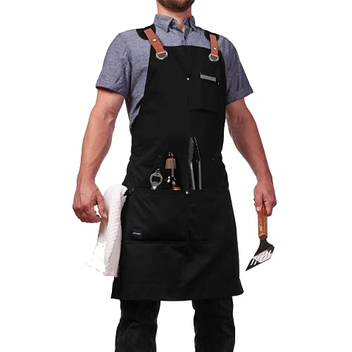 Tool Apron Shop Work Aprons, GOYLSER Cross Back Canvas Aprons Barber Aprons for Men, Kitchen Cooking Chef Apron, Adjustable Black Waterproof Machinist Apron, Welding Aprons