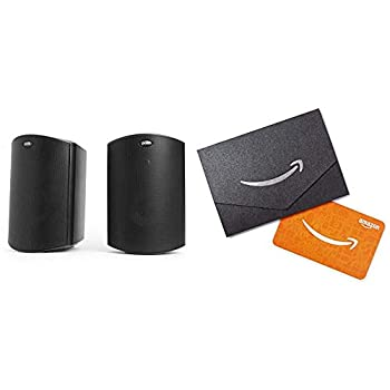 Polk Audio Atrium 4 Outdoor Speakers with Powerful Bass  Pair Black  All-Weather Durability Broad Sound Coverage Speed-Lock Mounting System and $20 Amazon.com Gift Card