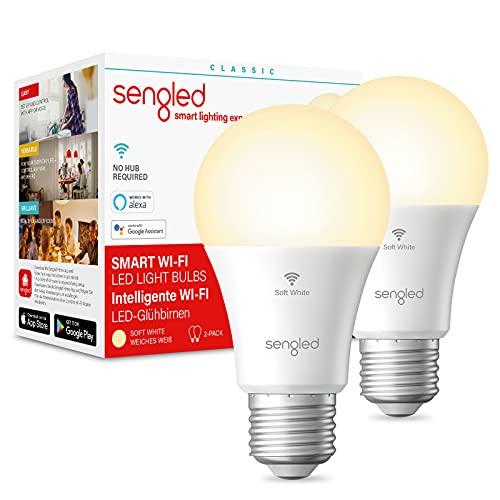 Sengled Alexa Glühbirnen E27, WiFi Glühbirne für Alexa Echo, Echo Dot, und Google Home, Dimmbar LED Smart Glühbirne, Warmweiß Glühlampen 8.8W 60W-Äquivalent 806LM 2700K, 2 Pack [Energieklasse A+]