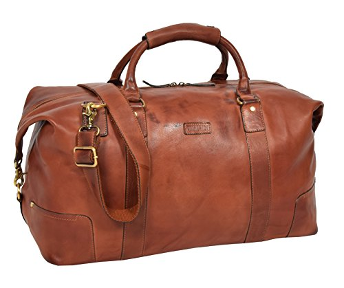 Real Soft Leather Holdall Classic Cross Body Large Organiser Gym Weekend Bag Savoy Tan