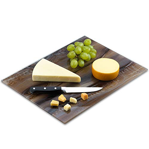 Tempered Glass Marble Pattern Cutting Board 12 x 16 Inch - Scratch, Heat, Shatter Resistant, Dishwasher Safe – Decorative Tray (brown marble)