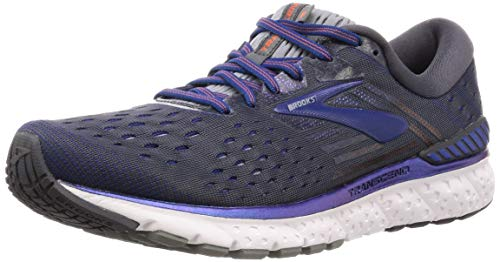 Brooks Mens Transcend 6 Running Shoe - Ebony/Blue/Mandarin - D - 9.5