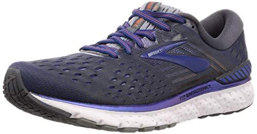 Brooks Mens Transcend 6 Running Shoe - Ebony/Blue/Mandarin - D - 9.0