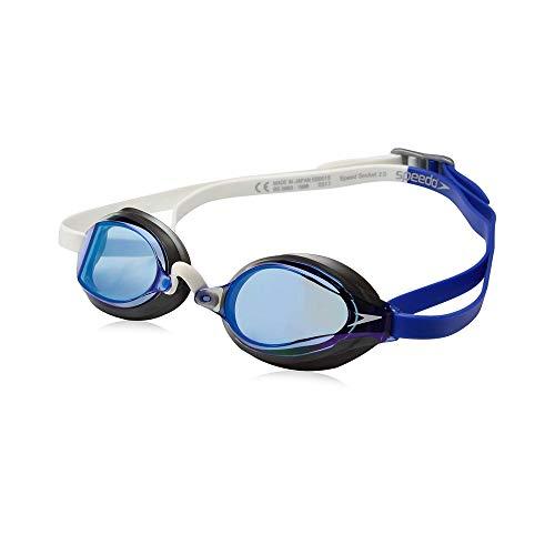 Speedo Speed Socket 2.0 Mirrored Swim Goggles, Curved, Anti-Glare, Anti-Fog with UV Protection, One Size, Dazzling Blue