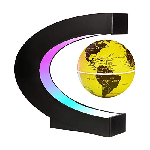Gresus Upgraded Magnetic Levitation Floating World Map Globe with C Shape Base, Floating Globe with LED Lights, Great Fathers Students Business Boyfriend Birthday Gift for Home Desk Decoration (Gold)