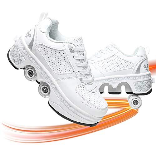 Multifunktionale Rollschuhe Skateboard Schuhe Kinderschuhe Mit Rollen Verstellbare Jungen Mädchen Laufschuhe Mit Rollen Für Kinder Und Erwachsene,Weiß,40