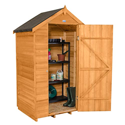 Forest Garden 4x3 Apex Security Overlap Garden Shed - Dip Treated