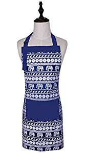 Cute Elephant Printed Pattern Women Funny Kitchen Cooking Apron With Adjustable Neck Strap & Waist Ties, Baking Apron with Large Front Pocket, 100% Cotton, Machine Washable (Blue)