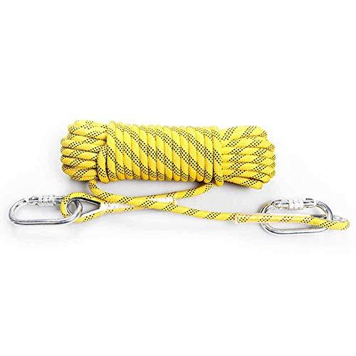 ZMHVOL Bergseil 20M mit Karabiner Durchm.10mm, sicherer und verschleißfest, Multifunktions, benutzt for Fischen, Bergsteigen, Camping, Rettung, Wandern, Rot ZDWN (Color : Yellow)