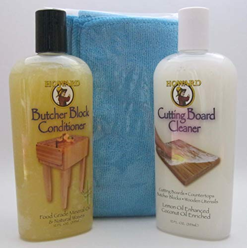 Howard Butcher Block Conditioner and Cutting Board Cleaner Bundle with Microfiber Cloth (Blue)