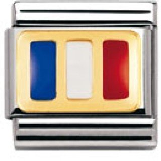 Nomination Composable Classic Flagge Europa Edelstahl, Email und 18K-Gold (Frankreich) 030234