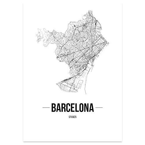 JUNIWORDS Stadtposter, Barcelona, Wähle eine Größe, 21 x 30 cm, Poster, Schrift B, Weiß