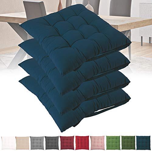Set 4 Cuscini Sedie Cucina 40x40 Cuscini per Seduta Comoda e Confortevole imbottitura 6 cm cotone 100% con lacci (blu)