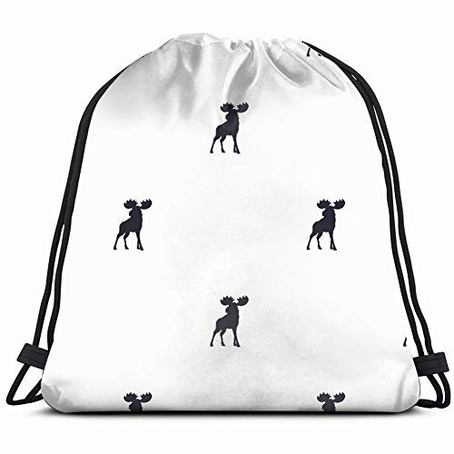 XCNGG moose wild animal symbols holidays Drawstring Backpack Gym Sack Lightweight Bag Water Resistant Gym Backpack for Women&Men for Sports,Travelling,Hiking,Camping,Shopping Yoga