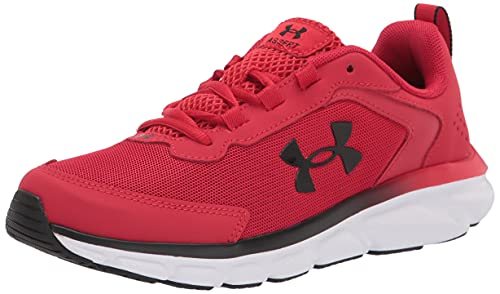 Under Armour Men's Grade School Assert 9 Running Shoe, Red (600)/White, 6