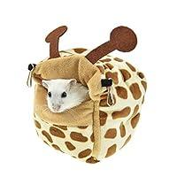 MINGTAI ハムスターベッドハウス隠れ家冬の厚手のフリース小動物ペットシュガーグライダーハンモックラットの洞窟ベッドケージアクセサリー (Color : Giraffe, Size : M)