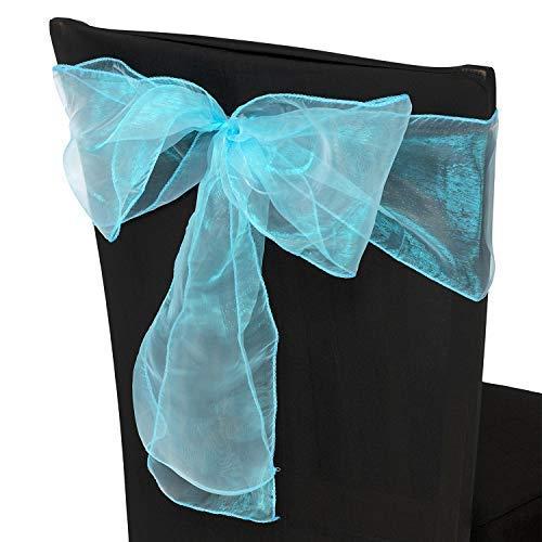 Trimming Shop Lot de 200 rubans de chaise en organza bleu turquoise assortis, pour mariage, banquet, anniversaire, décoration d'événement, 17 cm x 280 cm