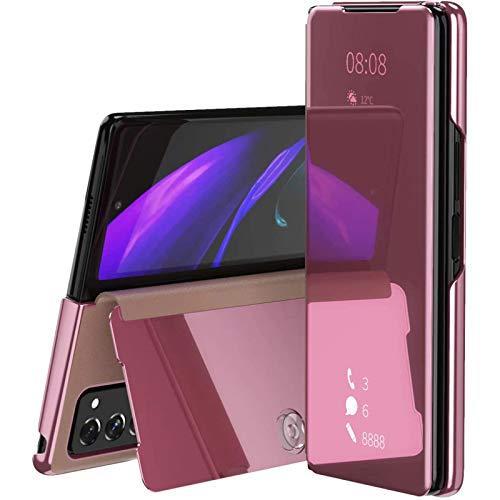 Miimall - Custodia per Samsung Galaxy Z Fold 2, Transluzent View Miroir, con funzione di supporto, in pelle PU, per Samsung Galaxy Z Fold 2 5G 2020, colore: Rosa