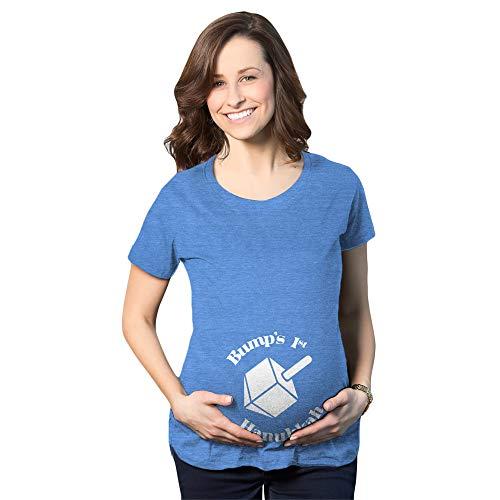 Crazy Dog T-Shirts Maternity Bumps 1st Hanukkah Tshirt Cute Dreidel Jewish Holiday Tee (Heather Blue) - M