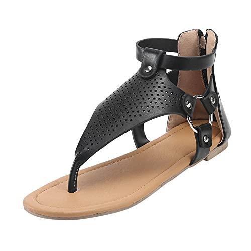 Sandalias Mujer Verano Nuevo 2021 Planas Moda Sandalias de Vestir Playa Chanclas para Mujer Flip flop Hueca Zapatos Sandalias de Punta Abierta Roma casual Sandalias Fiesta Cómodo