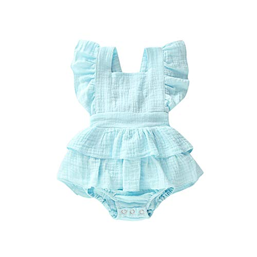 Bowanadacles Newborn Baby Girl Romper Jumpsuit Cotton Linen Sleeveless Ruffled Bodysuit Infant Summer Clothes Outfits (90(6-12M), Light Blue)