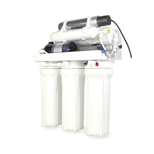 YATEK Sistema de Osmosis inversa domestica C de 5 etapas con Tanque de 12 litro, Bomba de presión y lampara UV