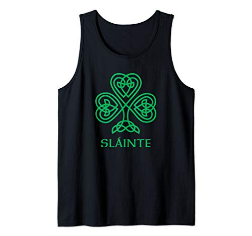Slainte Irish Green Shamrock Celtic Knot Ireland Gaelic Tank Top