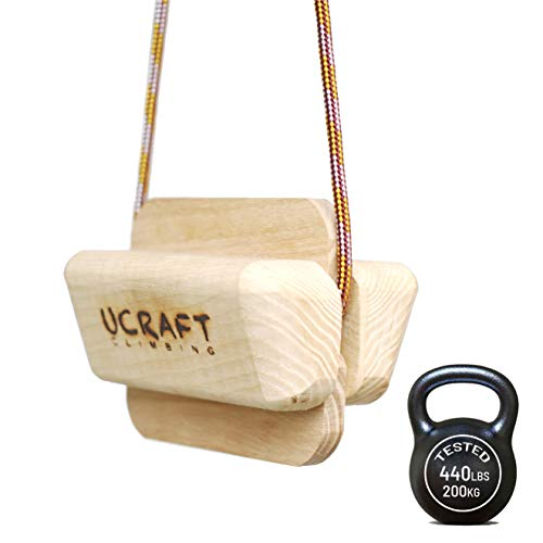 Ucraft Pocket-Sized Climbing Fingerboard   Double-Sided Grip Strength Training Board   Wooden Hang Board for Pull up Grips   Pinch Training Finger Board   Non-Slip, Portable & Lightweight Hang Board