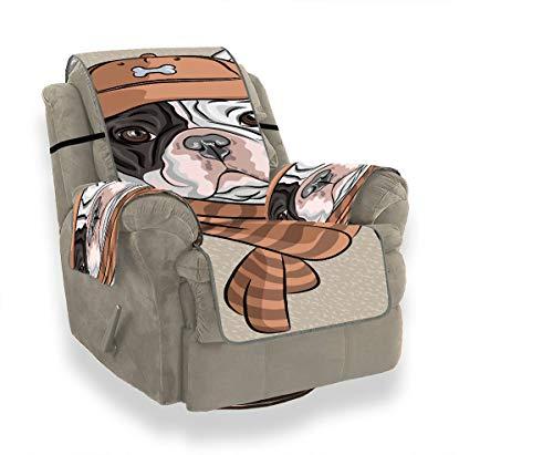 JOCHUAN Hipster Hund Französische Bulldogge Rasse In Einem Braunen Mütze Sofa Couchbezug Sofakissen Schonbezug Liegesofa Möbelschutz Für Haustiere, Kinder, Katzen, Sofa