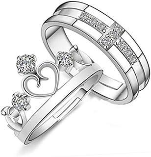 مجوهرات تاج عتيقة للرجال والنساء، خاتم مزدوج مفتوح، الإصدار الكوري، بسيط