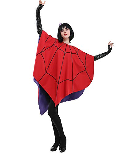 miccostumes Women's Lydia Deetz Animated Cartoon Cosplay Costume Spider Web Poncho for Halloween (One Size) Red