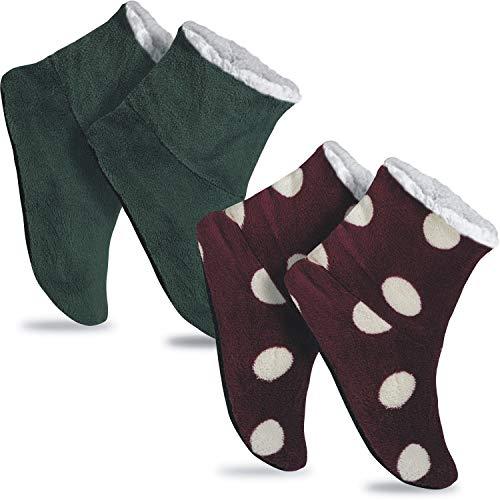 GAWILO 2 Paar rutschfeste Damen Home Booties | Hausschuhe mit ABS Sohle (39-42, farbig 8)