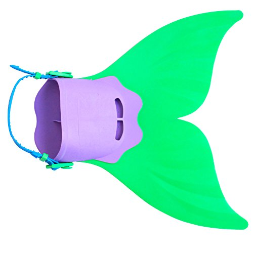 Qianmome Kids Girls Mermaid Tails Adjustable Mermaid Fin Flippers for Swimming Training Girl,Boys,Kids Monofin Green