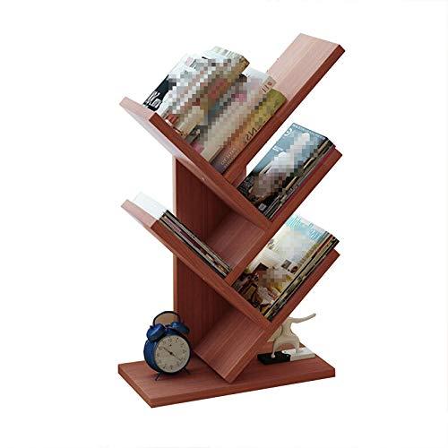 HXXXIN Student use Home Bookshelf Simple Office Tree Shelf Shelf Study Bedroom Bedroom Table Small Bookshelf,Red