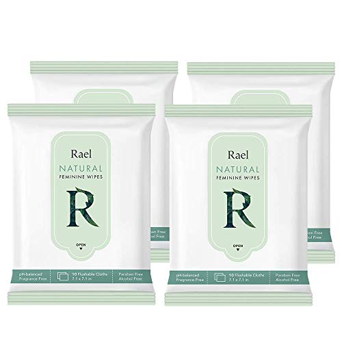 Rael Feminine Wet Wipes with Natural Ingredients - Flushable, Travel Size, All Skin Use, Eco-Friendly, Paraben Free, Natural Pulp, pH-Balanced, Daily use, Gentle&Safe for Women Intimate (4Pack)