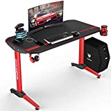 VIT 44 Inch Ergonomic Gaming Desk, T-Shaped Office PC Computer Desk with Full Desk Mouse Pad, Gamer Tables Pro with USB Gaming Handle Rack, Stand Cup Holder&Headphone Hook (44 inch, Red)