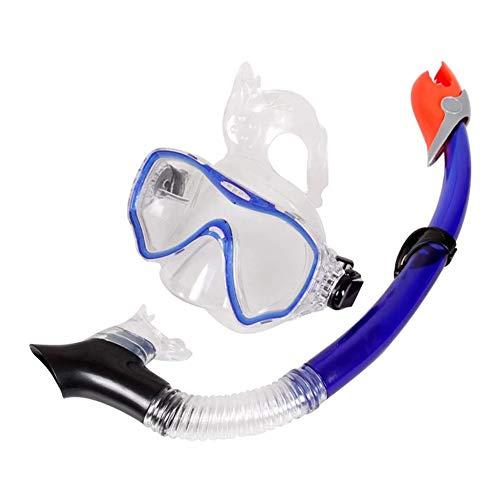 ZHANGXJ Seguro Easybreath Gafas de Bucear Set de Buceo Ajustable Gafas de Natación Adultos Tubo Respirador Máscara de Buceo Máscara Snorkel Anti-Niebla Antideslizante (Color : Blue)