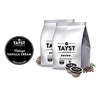 Tayst Coffee Pods | 50 ct. Vintage Vanilla Cream | 100% Compostable Keurig K-Cup compatible | Gourmet Coffee in Earth Friendly packaging
